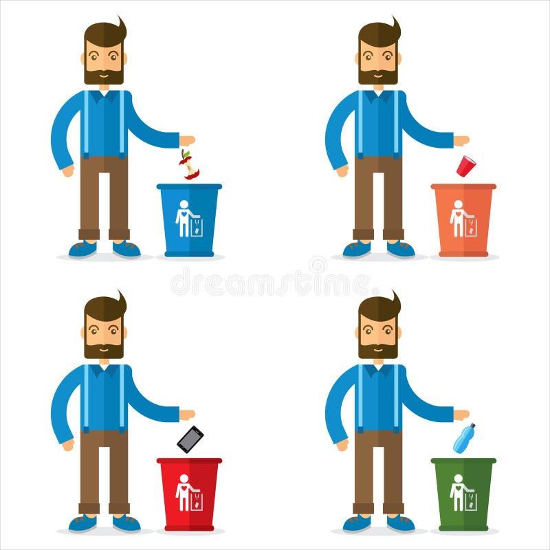 Homem e balde do lixo ilustração do vetor