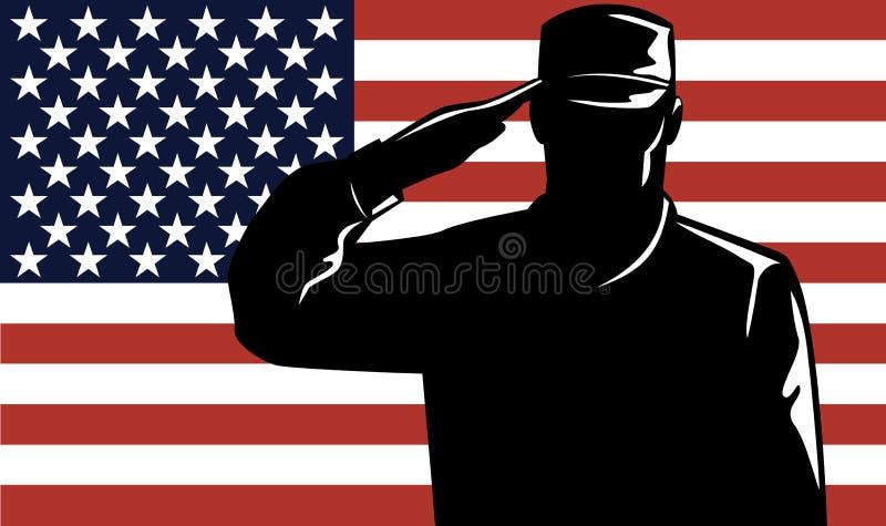 Homem e bandeira do serviço militar ilustração stock