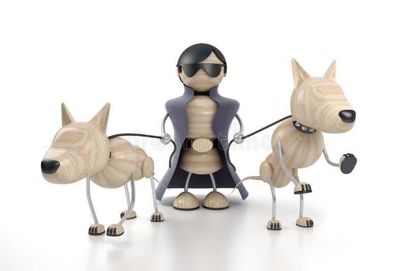 Homem e cães ilustração do vetor