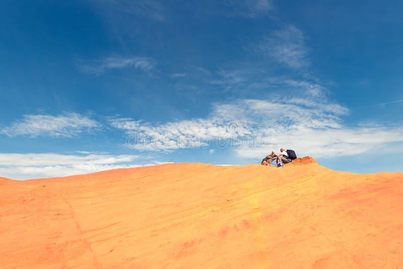 Homem e cão que andam na borda da duna imagens de stock