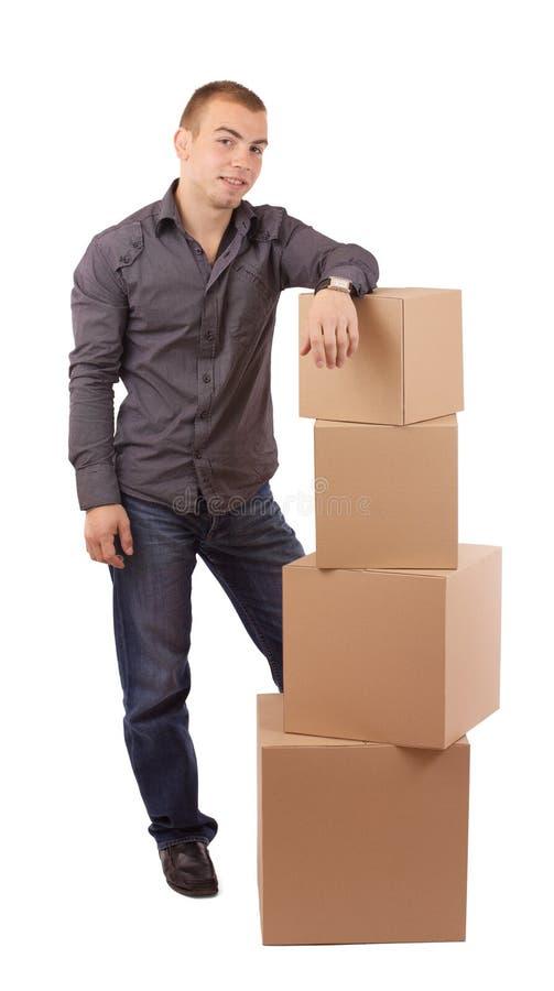 Homem e caixa fotos de stock