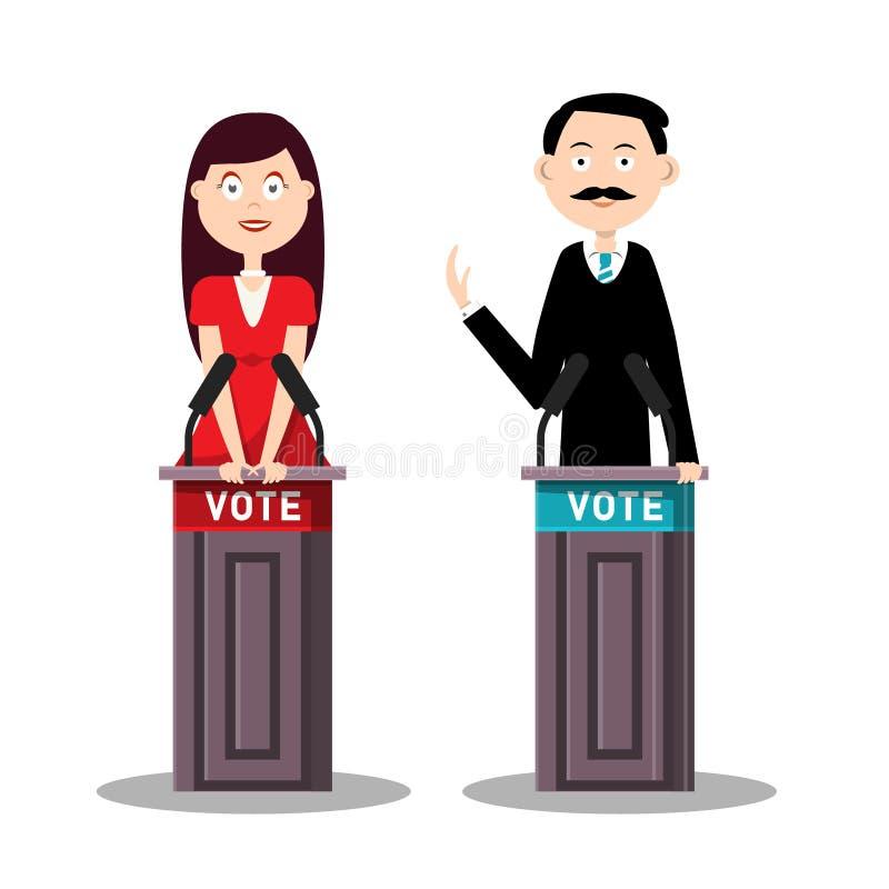 Homem e candidatas com atris e desenhos animados do vetor dos símbolos do voto ilustração stock