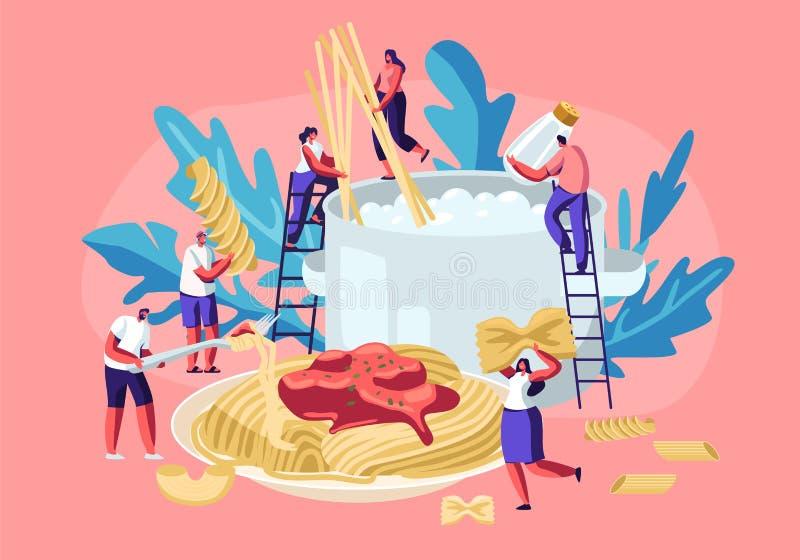 Homem e caráteres fêmeas que cozinham a massa, pondo os espaguetes e o macarrão seco de vários tipos, Fusilli, Conchiglio, Rigato ilustração stock