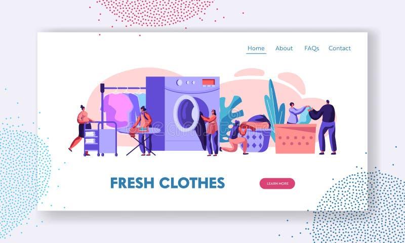 Homem e caráteres fêmeas que visitam a roupa da carga da lavanderia para lavar a máquina, passando, carro de rolamento na lavagem ilustração royalty free