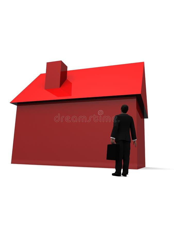 Homem e casa ilustração do vetor