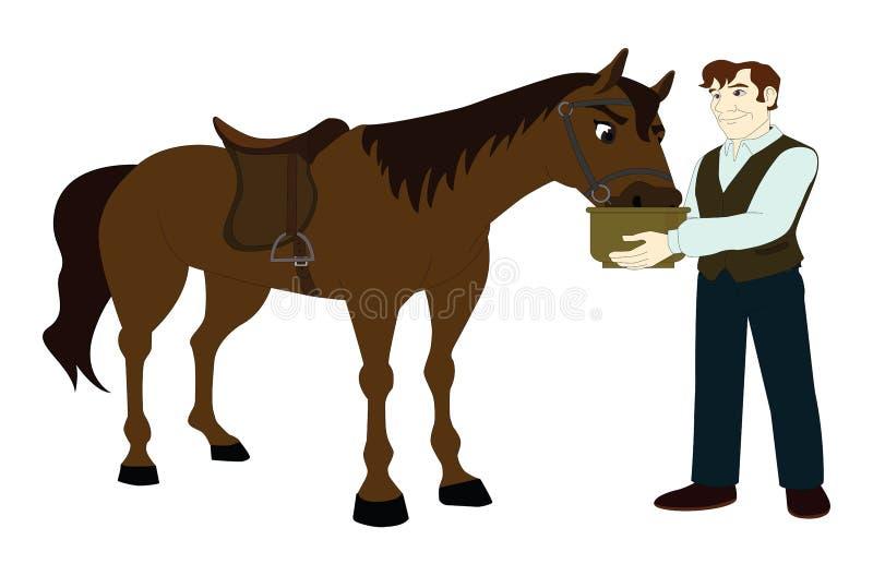 Homem e cavalo ilustração royalty free