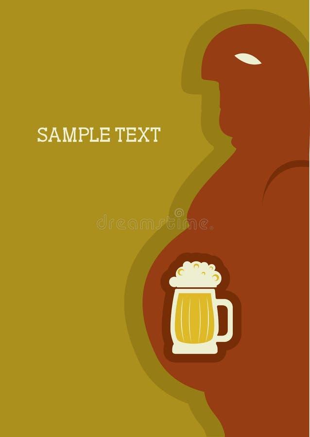 Homem e cerveja. Poster do vetor ilustração do vetor