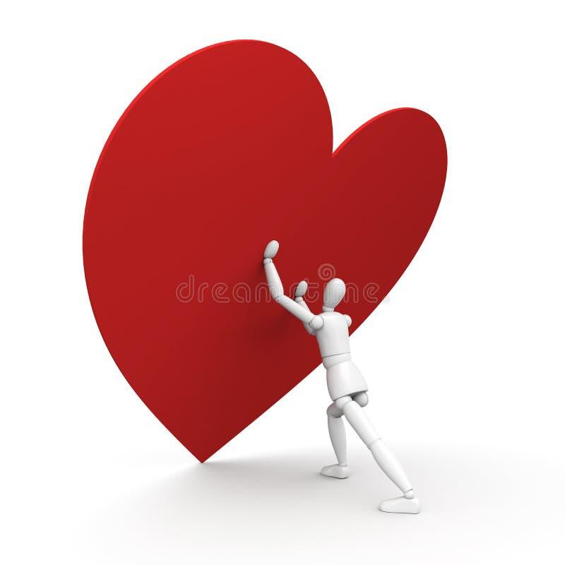 Homem e coração ilustração stock