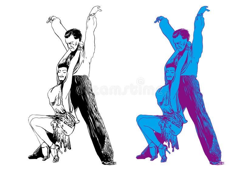 Homem e a dança da mulher ilustração stock