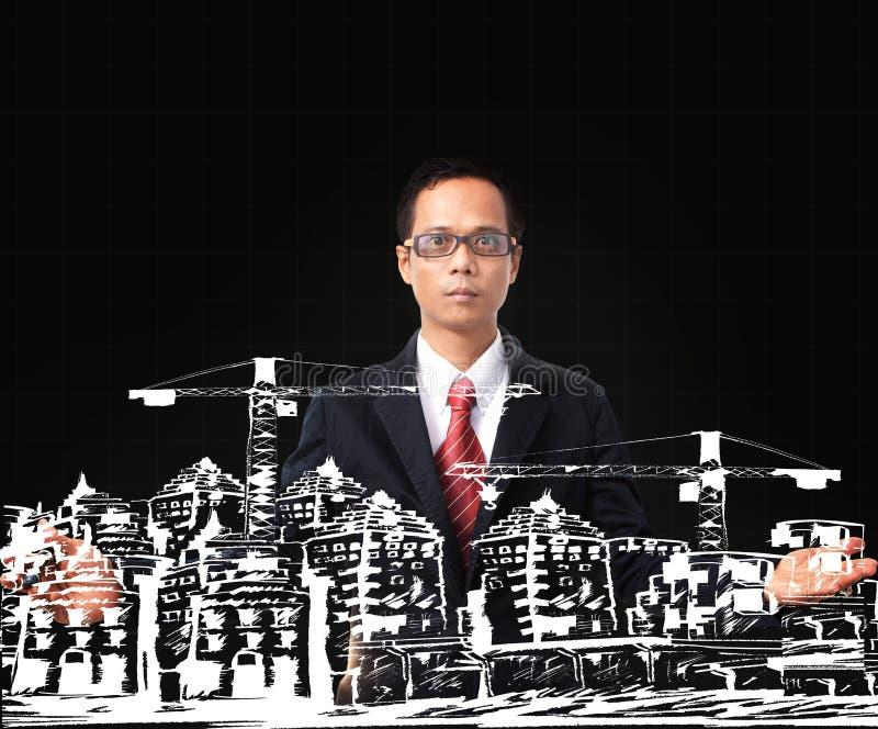 Homem e desenho asiáticos da construção moderna da construção foto de stock