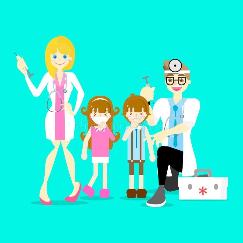 homem e doutor fêmea que guardam a seringa médica da injeção que dá a vacina da injeção ao menino e à menina, conceito dos cuidad ilustração royalty free