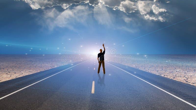 Homem e estrada ilustração stock