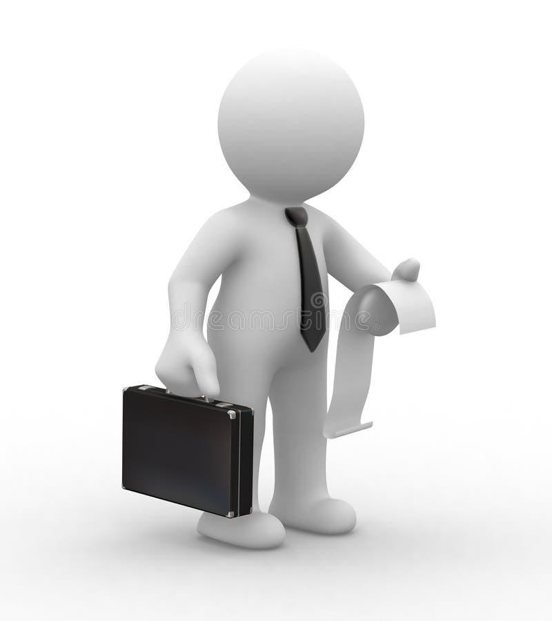 Homem e factura de negócio ilustração royalty free