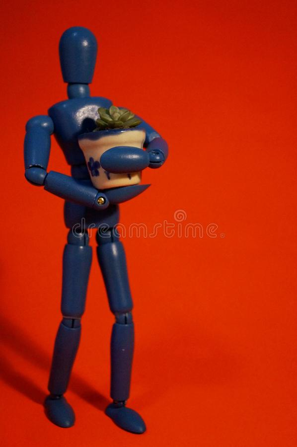 Homem e flor azuis pequenos foto de stock