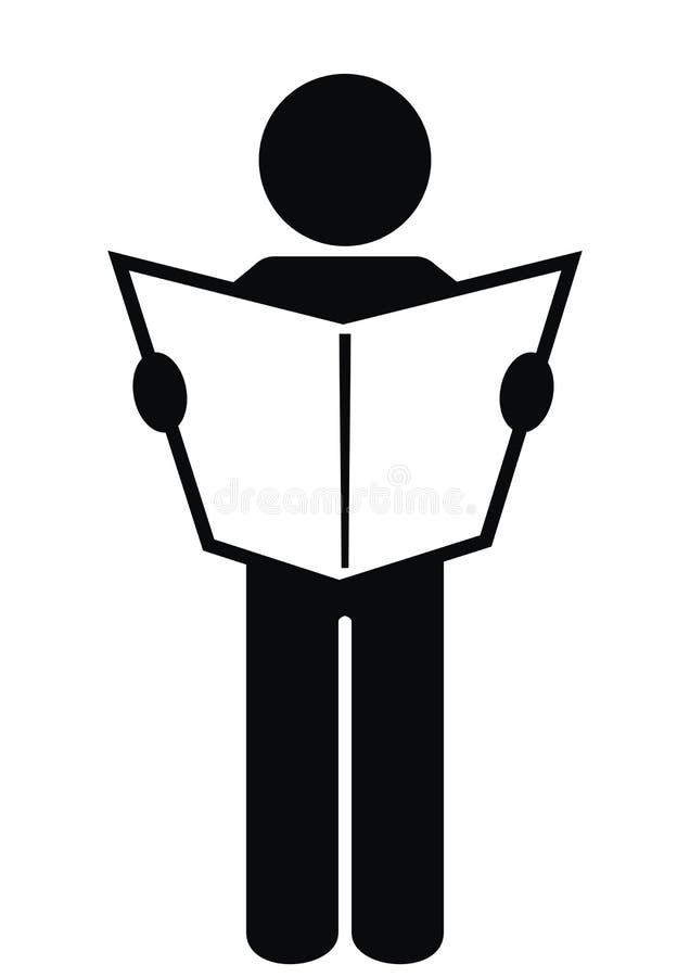 Homem e jornal, silhueta preta, ícone do vetor ilustração royalty free