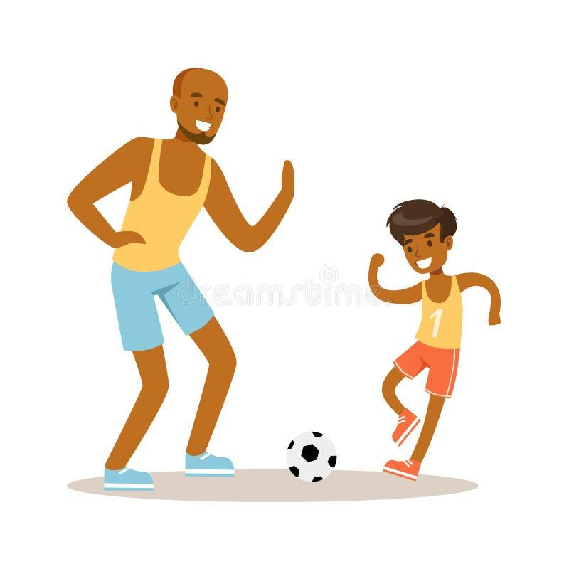 Homem e menino que jogam o futebol, paizinho e filho de sorriso que têm bons caráteres coloridos do tempo junto ilustração do vetor