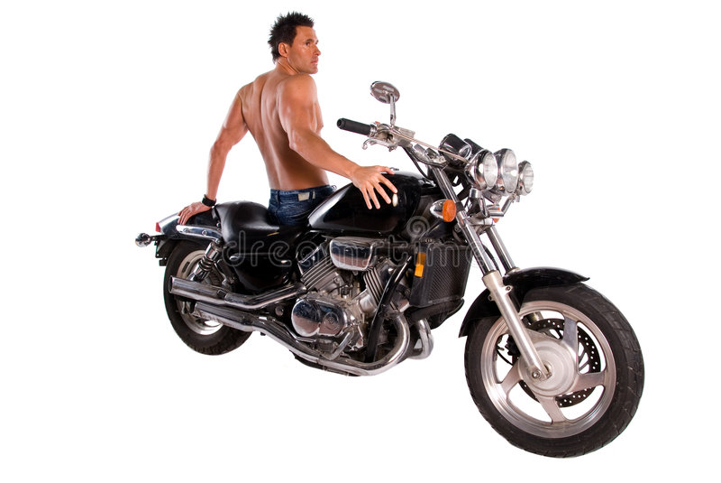 Homem e motocicleta musculares. fotografia de stock