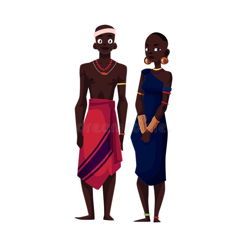 Homem e mulher aborígenes pretos nativos do tribo africano ilustração stock
