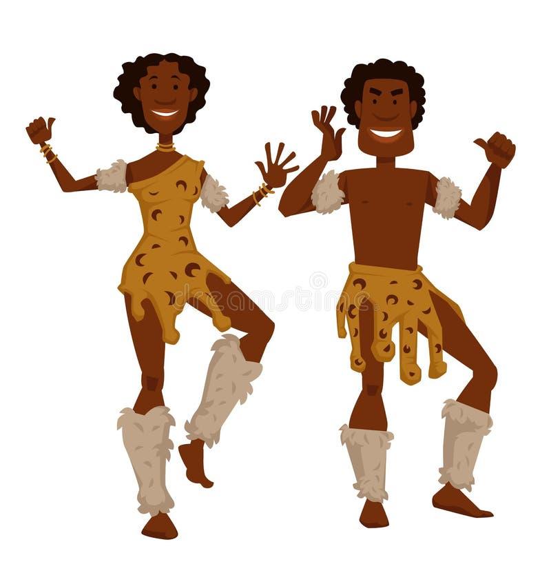 Homem e mulher africanos do tribo na dança da pele animal e da pele ilustração stock