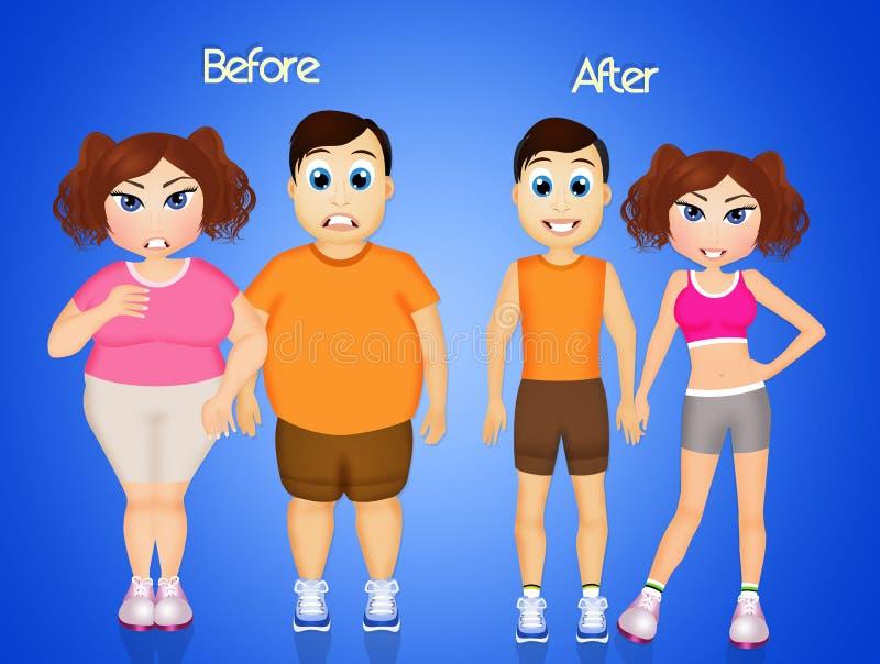Homem e mulher antes e depois da dieta ilustração do vetor