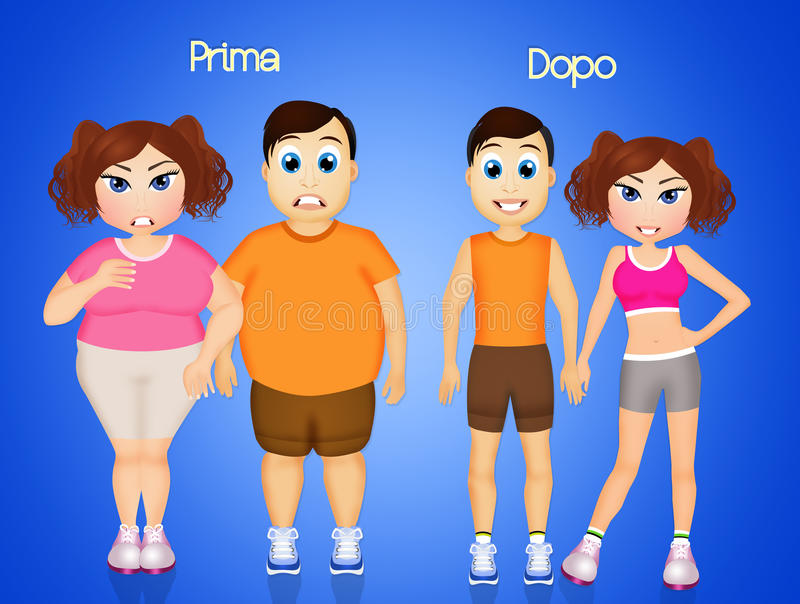 Homem e mulher antes e depois da dieta ilustração stock