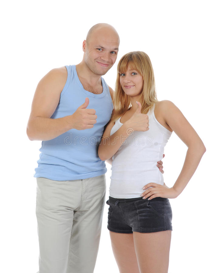Homem e mulher com polegar imagem de stock