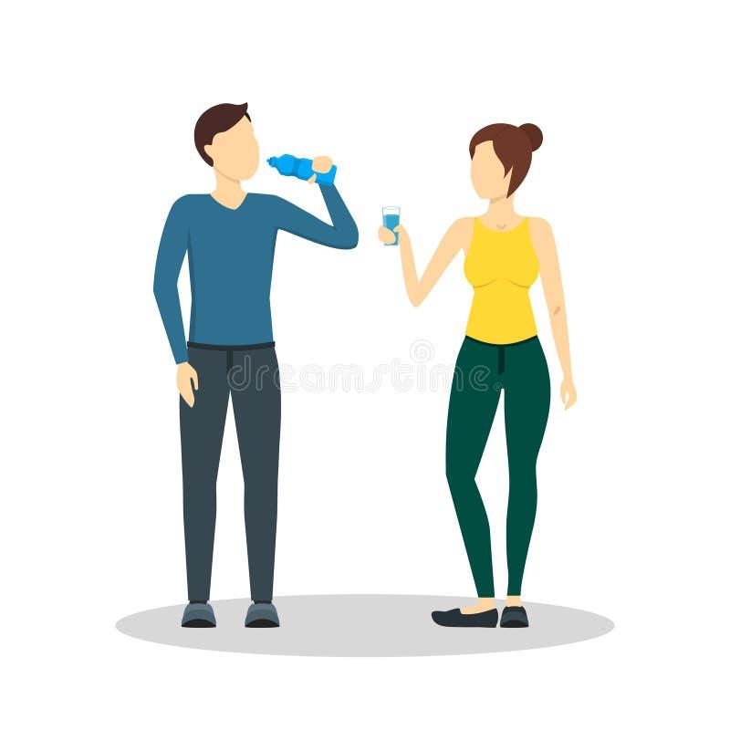 Homem e mulher da água potável dos desenhos animados Vetor ilustração royalty free
