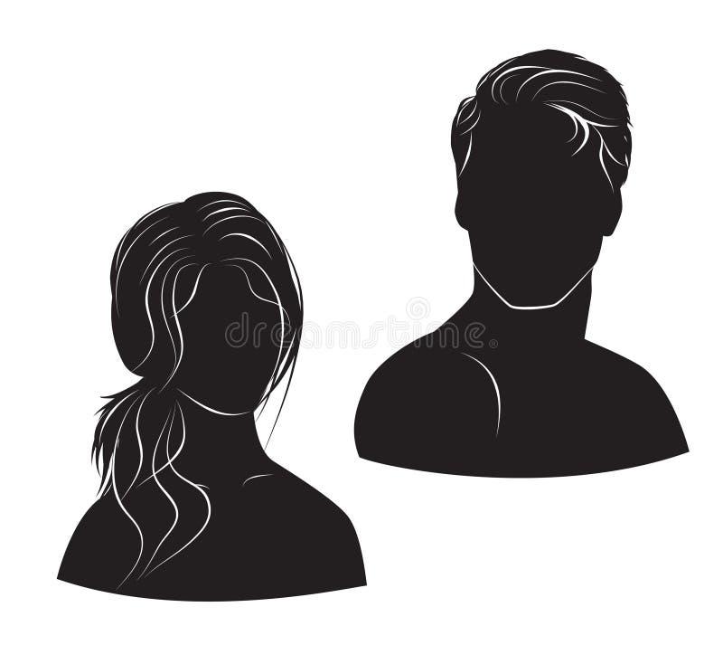 Homem e mulher da cara no fundo branco ilustração stock