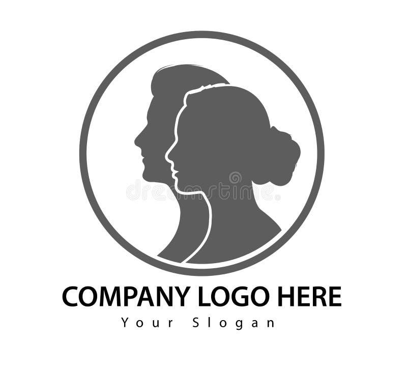 Homem e mulher do círculo do logotipo no vetor cara a cara ilustração stock