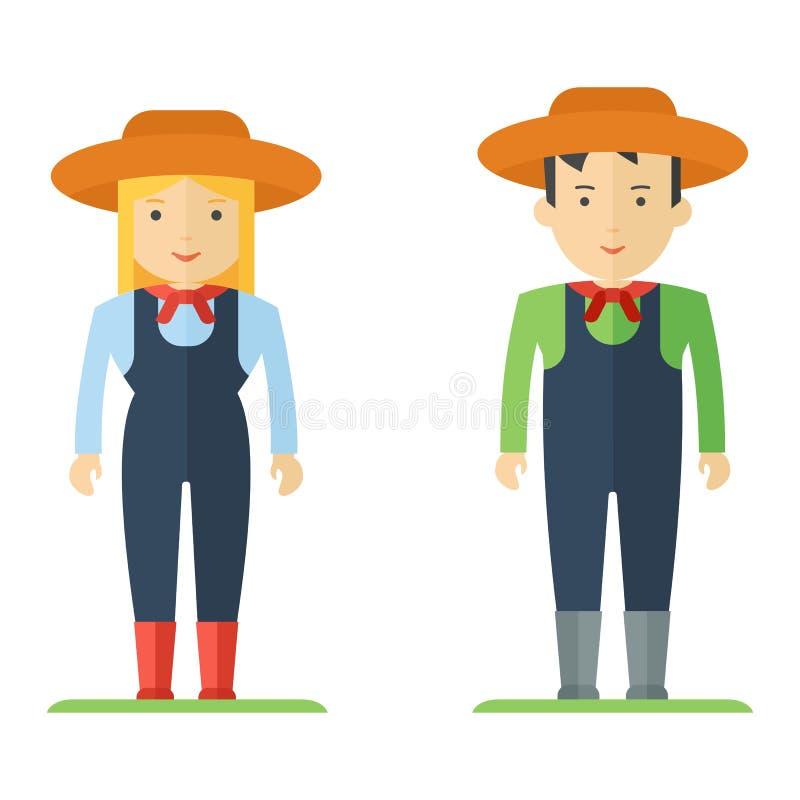 Homem e mulher do fazendeiro da profissão ilustração stock