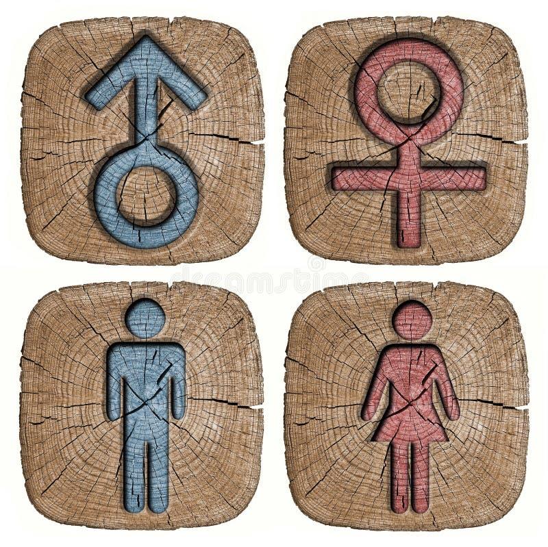 Homem e mulher do símbolo cinzelados ilustração do vetor
