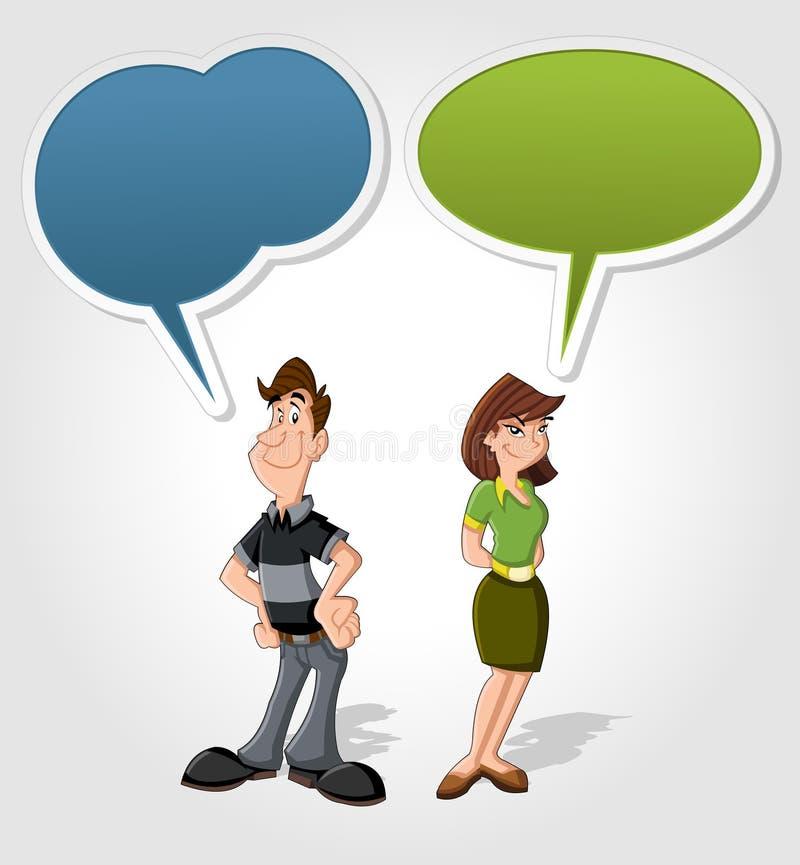 Homem e mulher dos desenhos animados ilustração stock
