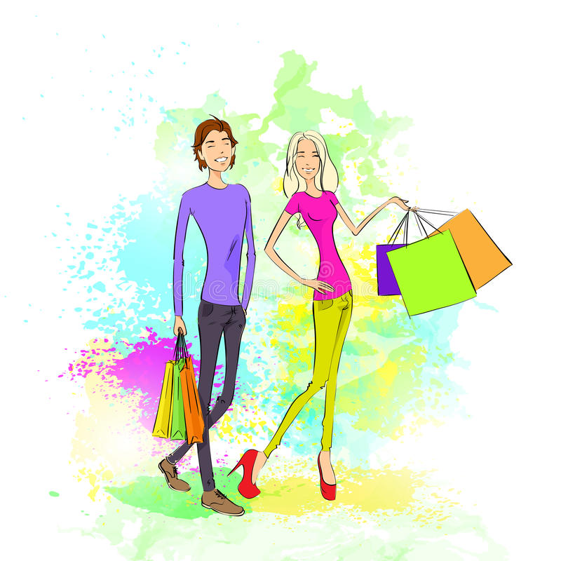 Homem e mulher dos pares da compra com sacos sobre ilustração stock