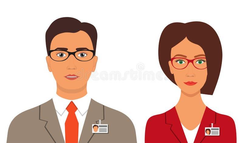 Homem e mulher em ternos de negócio com crachás e vidros Imagem do perfil do avatar do negócio Ilustração do vetor, isolada ilustração do vetor