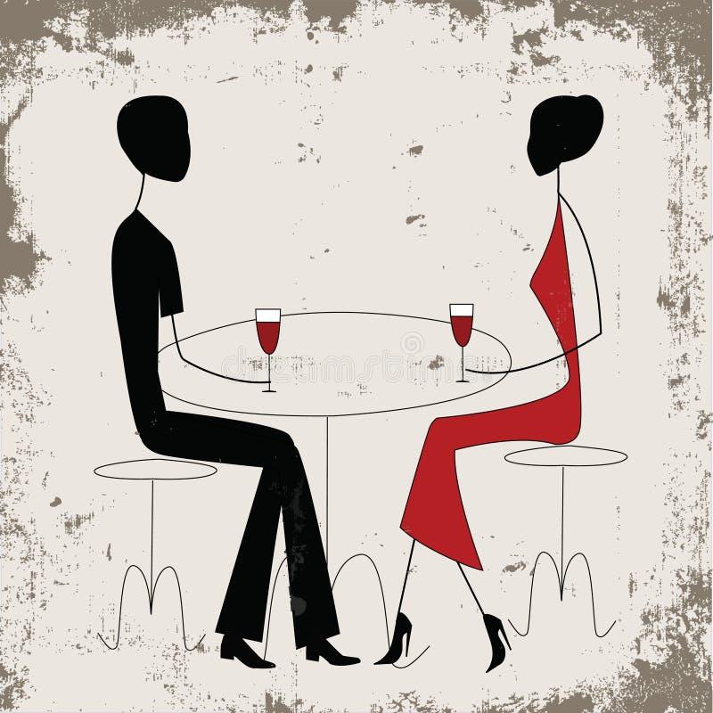 Homem e mulher em um restaurante ilustração stock