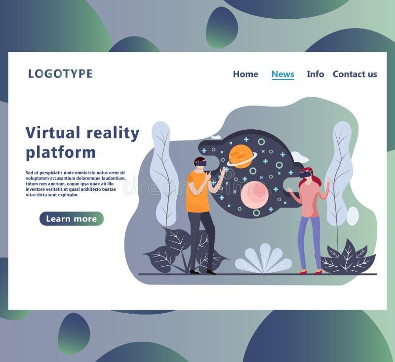 Homem e mulher em vidros da realidade virtual no Cyberspace ilustração do vetor