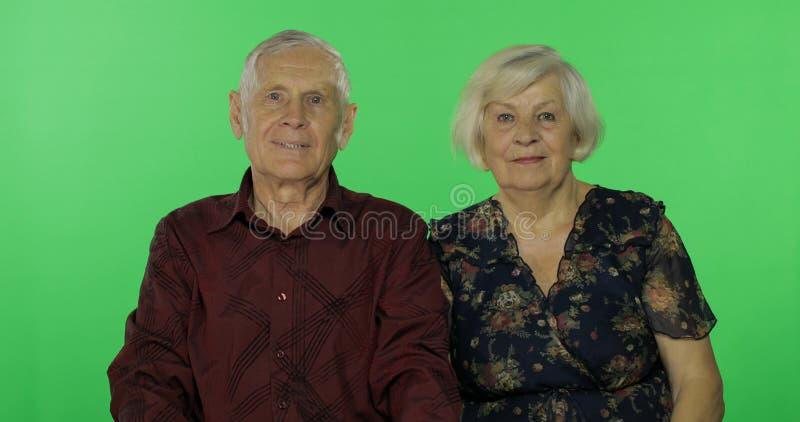 Homem e mulher envelhecidos superiores junto no fundo chave do croma Fam?lia feliz fotografia de stock royalty free