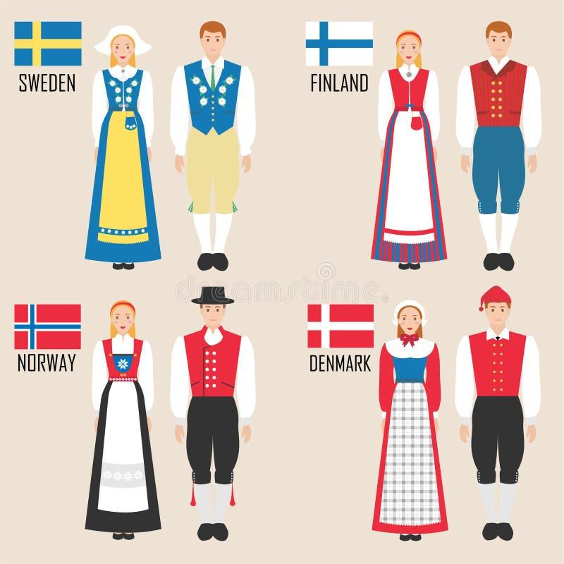 Homem e mulher escandinavos em trajes tradicionais ilustração royalty free