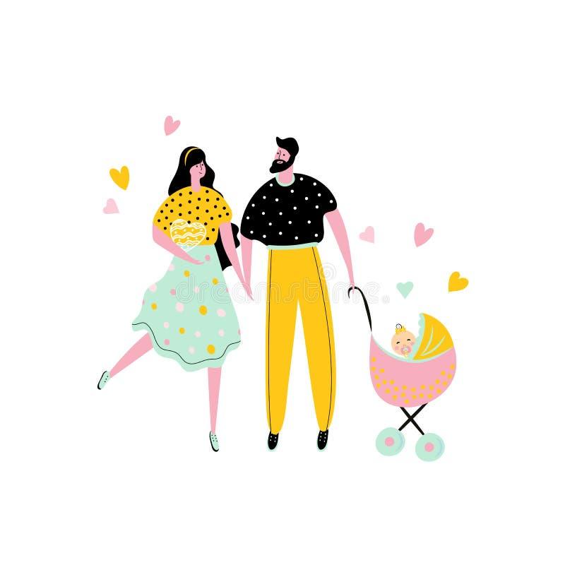 Homem e mulher felizes com uma menina em um transporte Caráteres bonitos para o cartão do projeto da festa do bebê Vetor ilustração stock