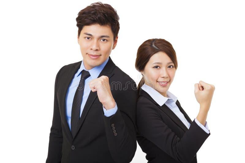 Homem e mulher felizes de negócio fotos de stock