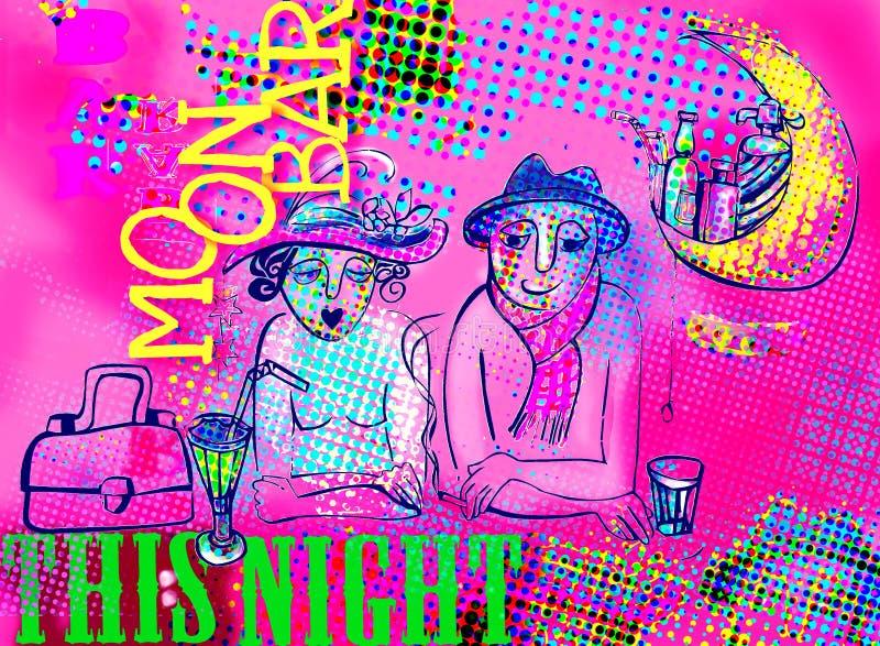 Homem e mulher na ilustração do bufete da lua ilustração royalty free