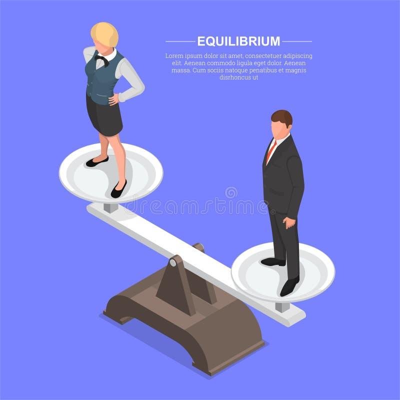 Homem e mulher nas escalas ilustração stock