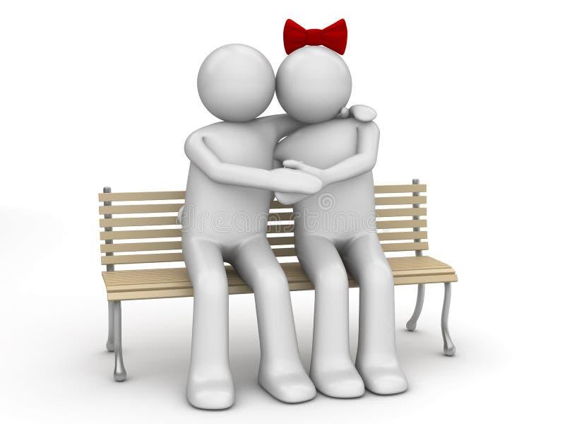 Homem e mulher no amor em um banco ilustração stock