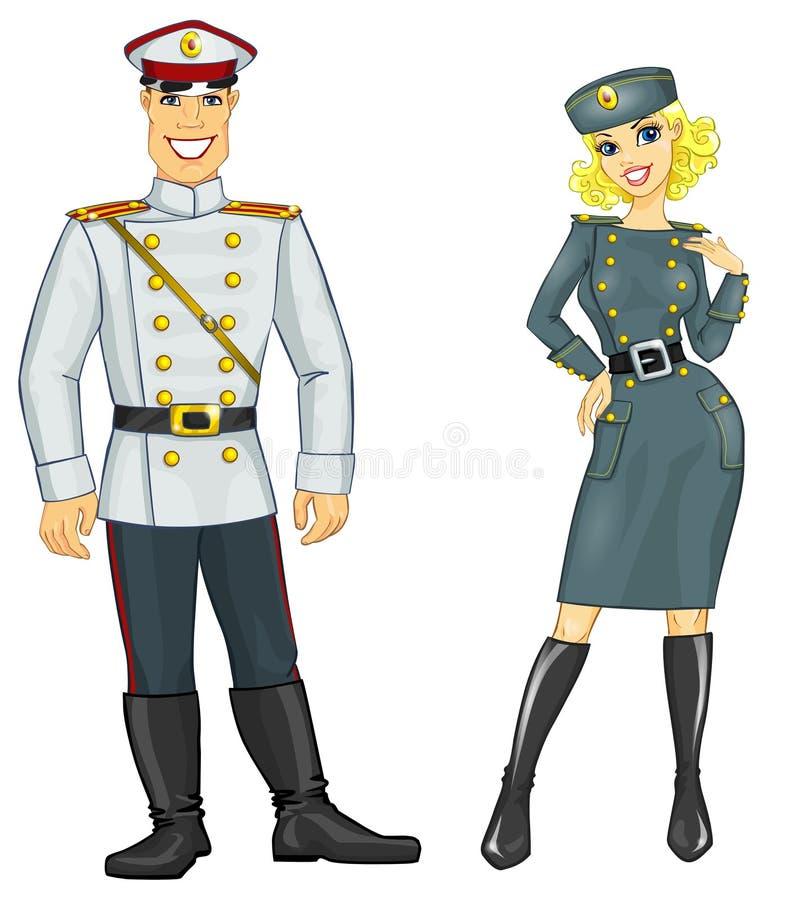 Homem e mulher no uniforme militar ilustração royalty free