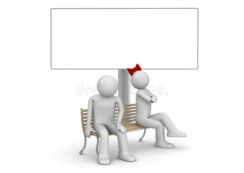 Homem e mulher ofendidos em um banco com copyspace ilustração royalty free