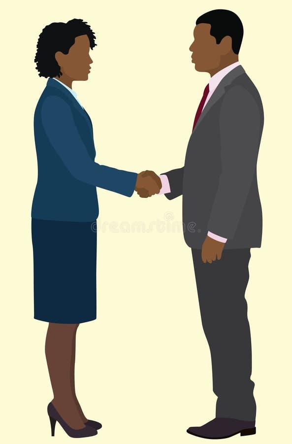 Homem e mulher pretos de negócio ilustração do vetor