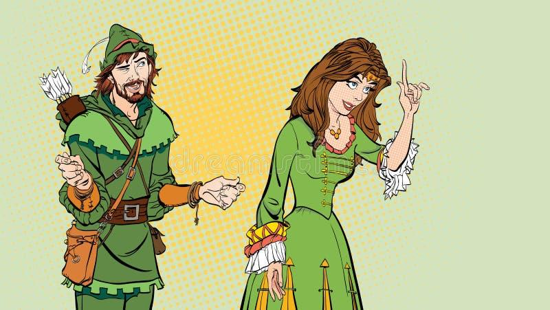 Homem e mulher Princesa que ensina Robin Hood Princesa de ensino Senhora no vestido medieval Legenda medieval Mulher medieval ilustração do vetor