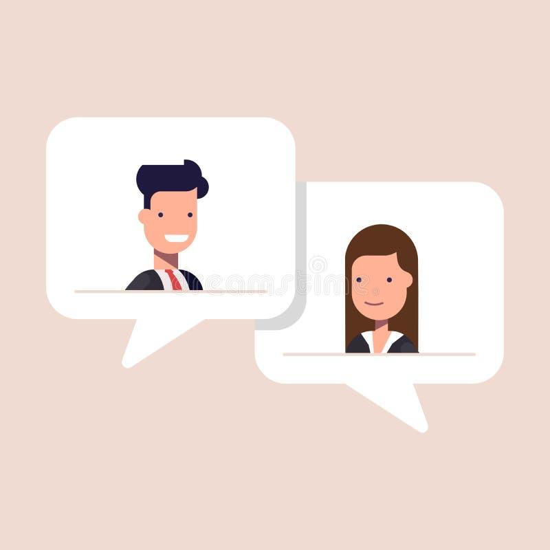 Homem e mulher que conversam na bolha do discurso Fala do homem de negócios e da mulher de negócios Conceito do diálogo no tema d ilustração stock