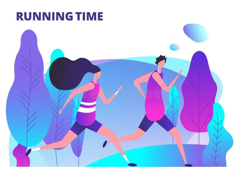 Homem e mulher que correm no parque Exercício da aptidão e ilustração saudável do vetor do estilo de vida do corpo ilustração do vetor