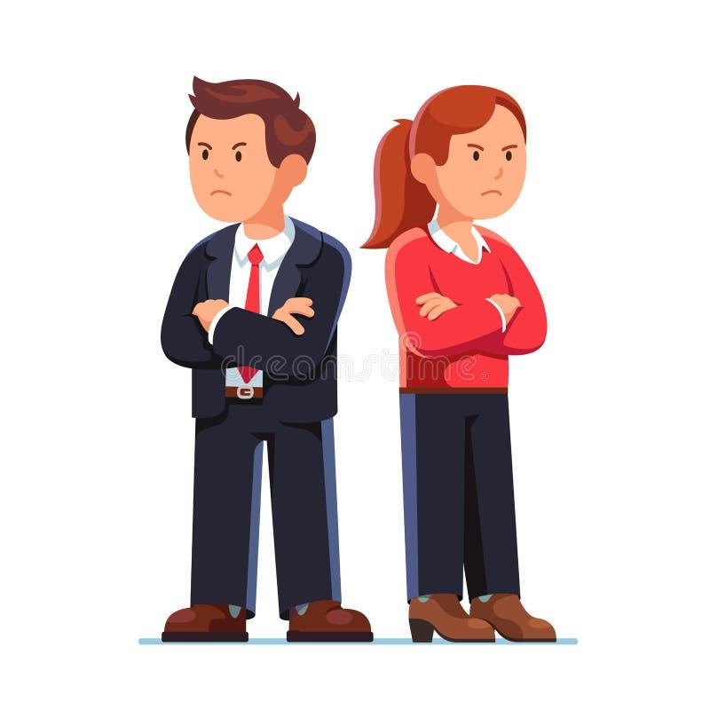 Homem e mulher que estão de volta à parte traseira após o argumento ilustração royalty free